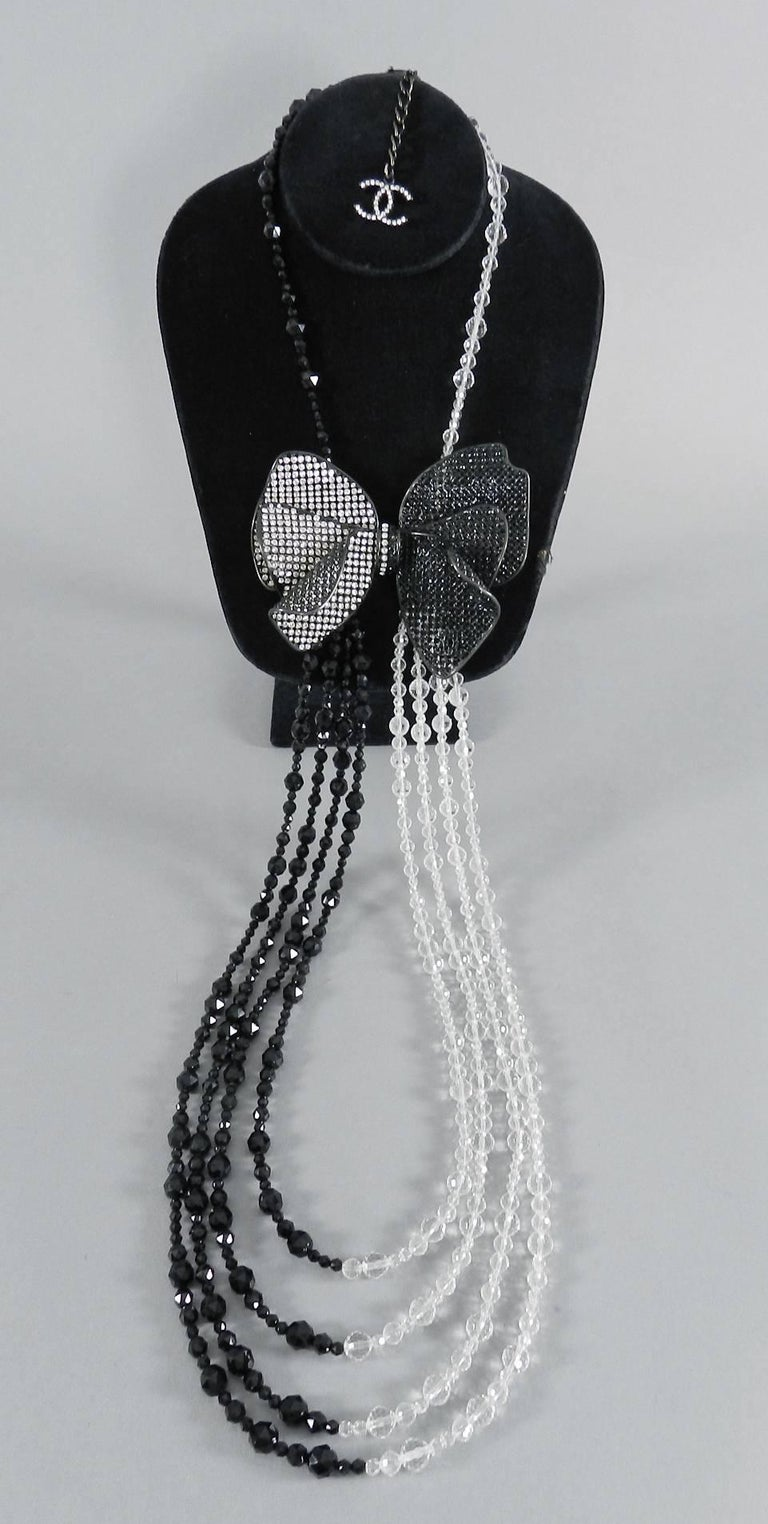 Chanel 09C Black and White Crystal Beaded Necklace with Mesh Bow 3