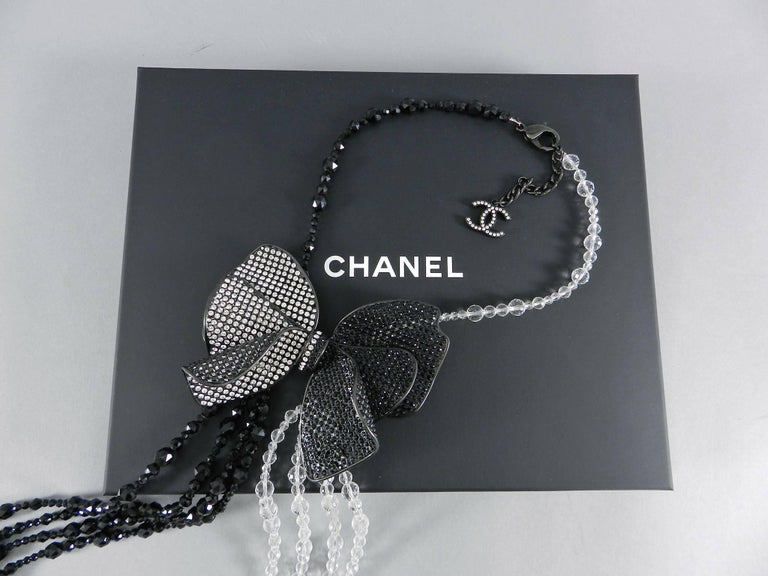 Chanel 09C Black and White Crystal Beaded Necklace with Mesh Bow 4