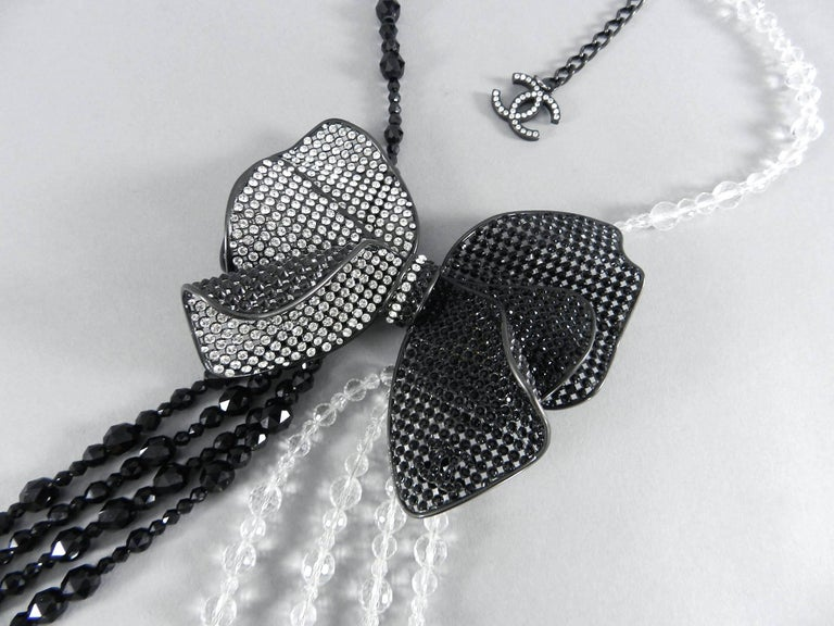 Chanel 09C Black and White Crystal Beaded Necklace with Mesh Bow 5