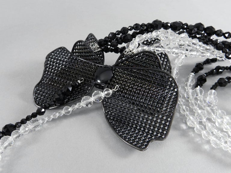 Chanel 09C Black and White Crystal Beaded Necklace with Mesh Bow 8