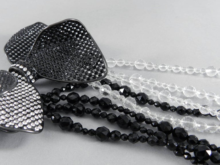 Chanel 09C Black and White Crystal Beaded Necklace with Mesh Bow 9