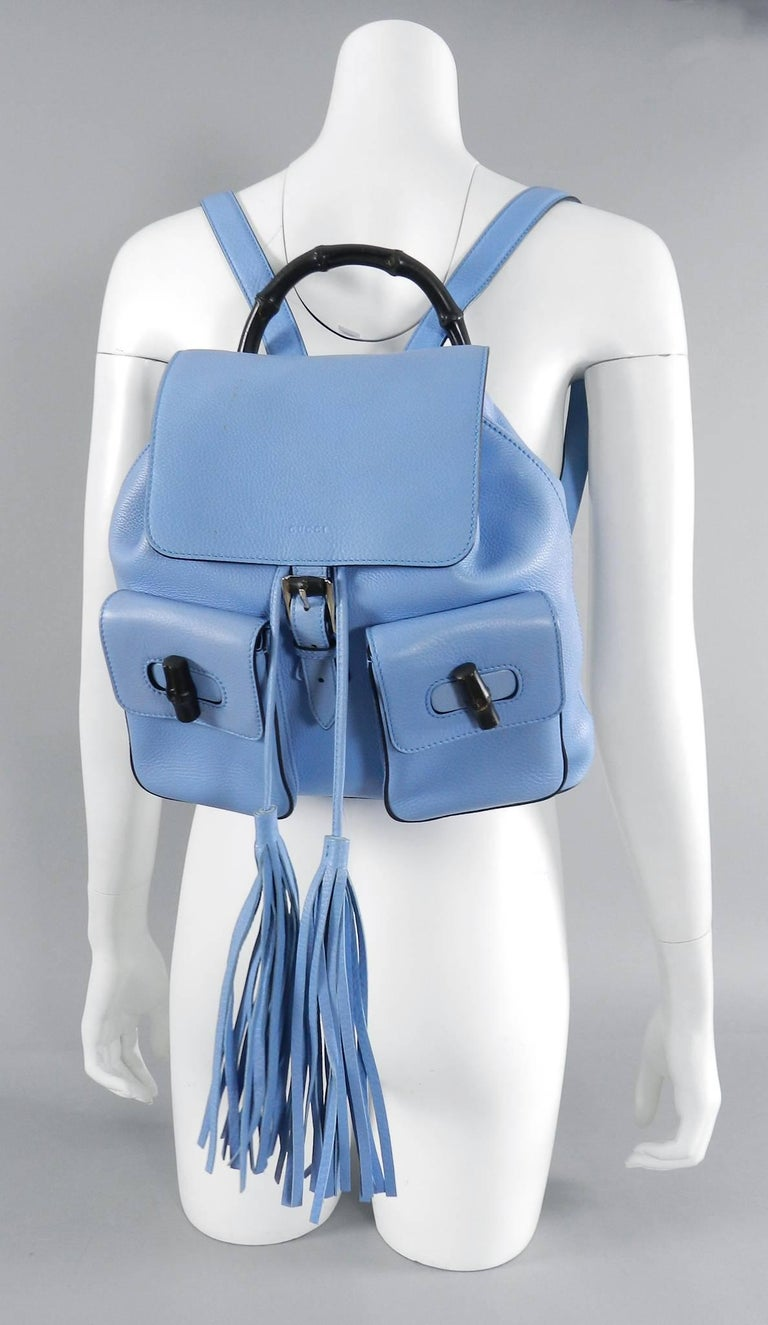 Gucci Blue Leather Backpack with Bamboo Handle and Tassels 2