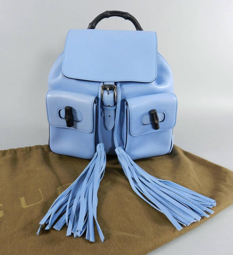 Gucci Blue Leather Backpack with Bamboo Handle and Tassels 4