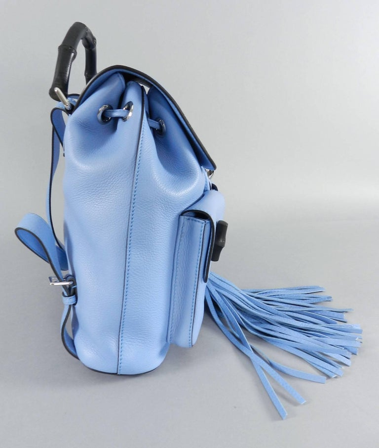 Gucci Blue Leather Backpack with Bamboo Handle and Tassels 5