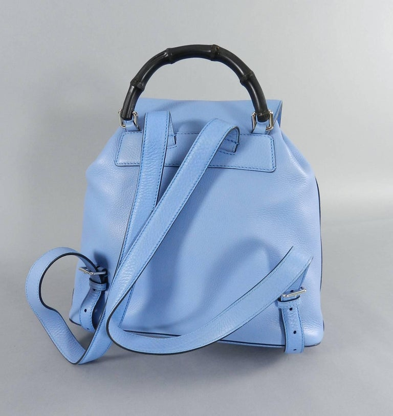 Gucci Blue Leather Backpack with Bamboo Handle and Tassels 6