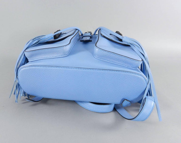 Gucci Blue Leather Backpack with Bamboo Handle and Tassels 7
