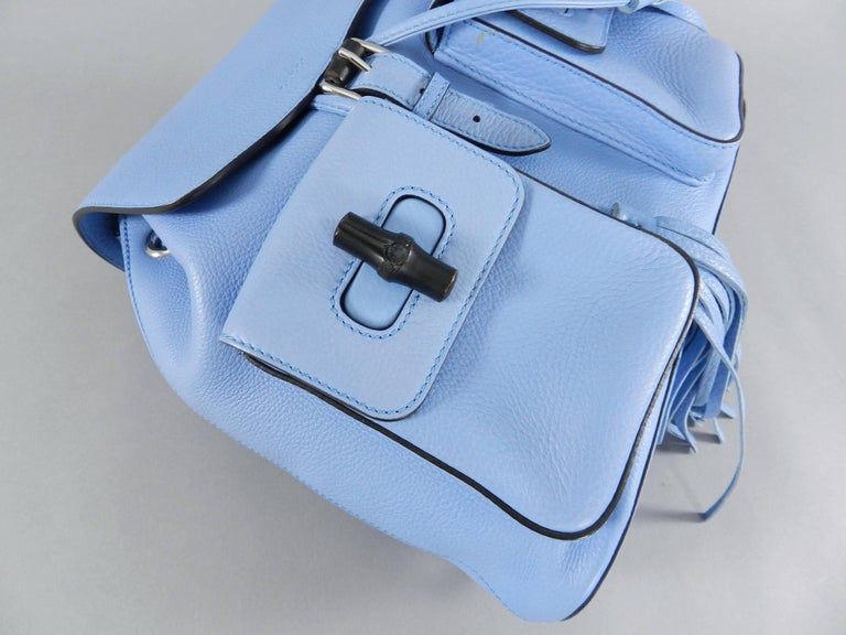 Gucci Blue Leather Backpack with Bamboo Handle and Tassels 8