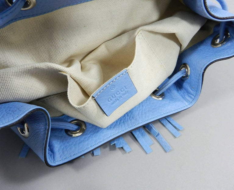 Gucci Blue Leather Backpack with Bamboo Handle and Tassels 9
