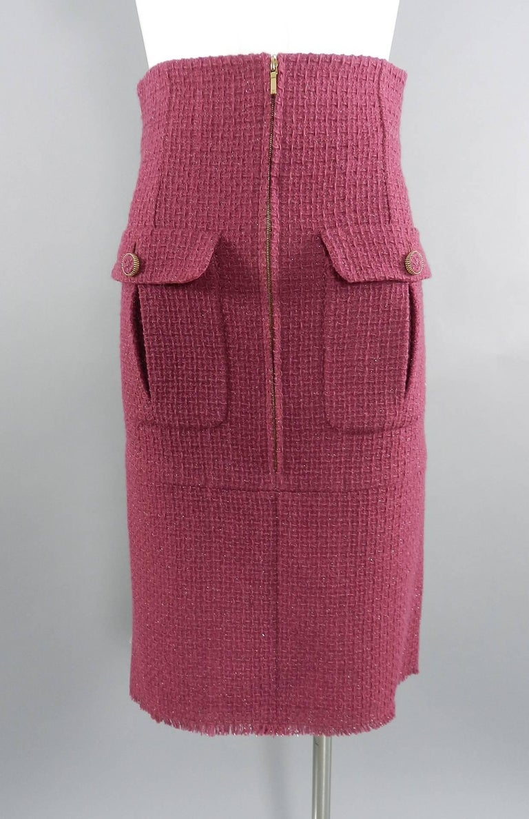 Brown Chanel 16K Runway Fuchsia Wool Skirt Suit For Sale