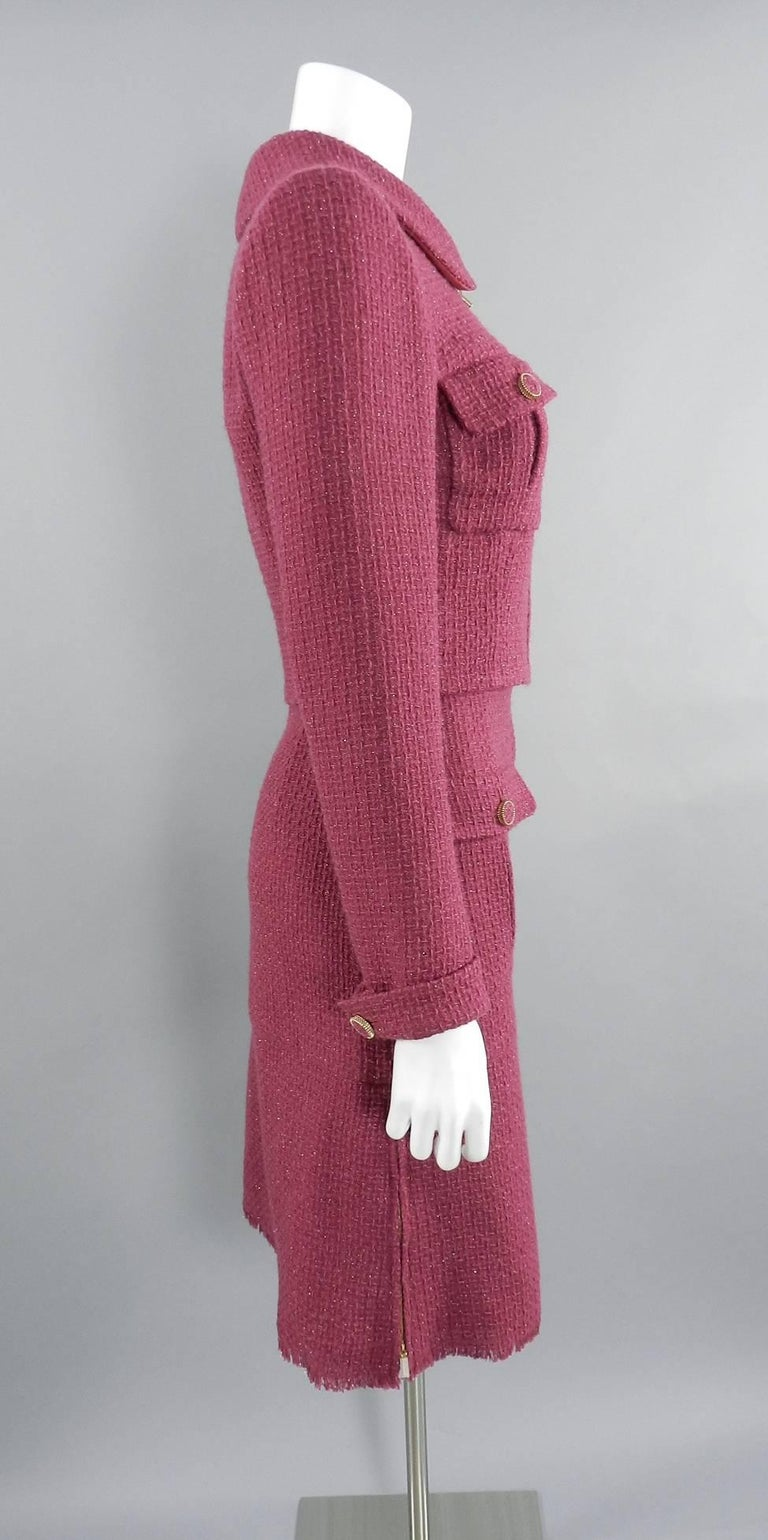 Chanel 16K Runway Fuchsia Wool Skirt Suit In Excellent Condition For Sale In Toronto, CA