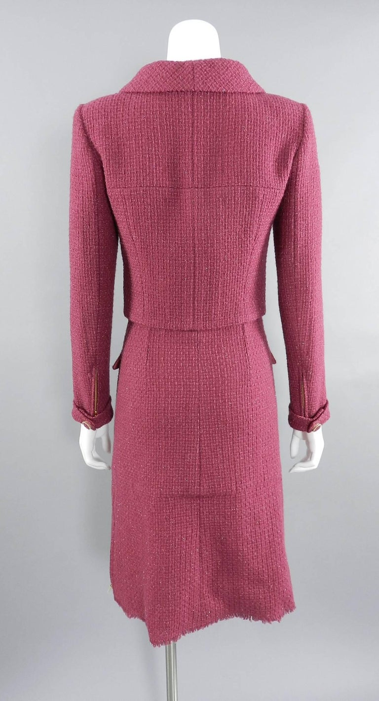 Women's Chanel 16K Runway Fuchsia Wool Skirt Suit For Sale