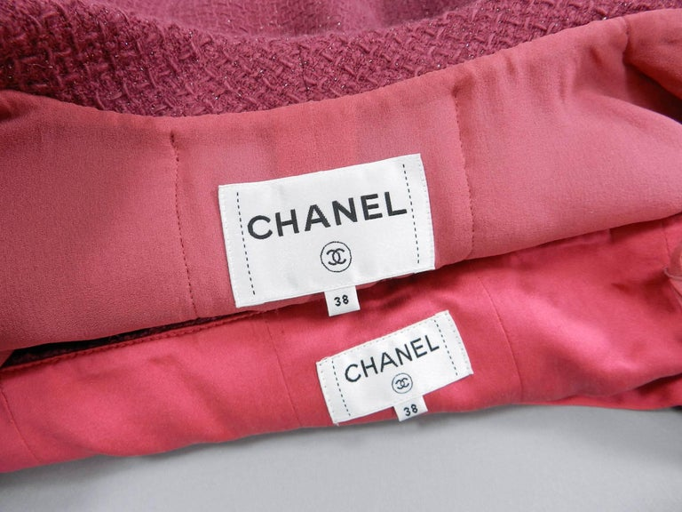 Chanel 16K Runway Fuchsia Wool Skirt Suit For Sale 1