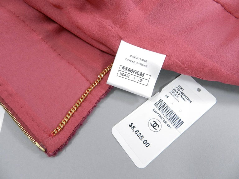 Chanel 16K Runway Fuchsia Wool Skirt Suit For Sale 2