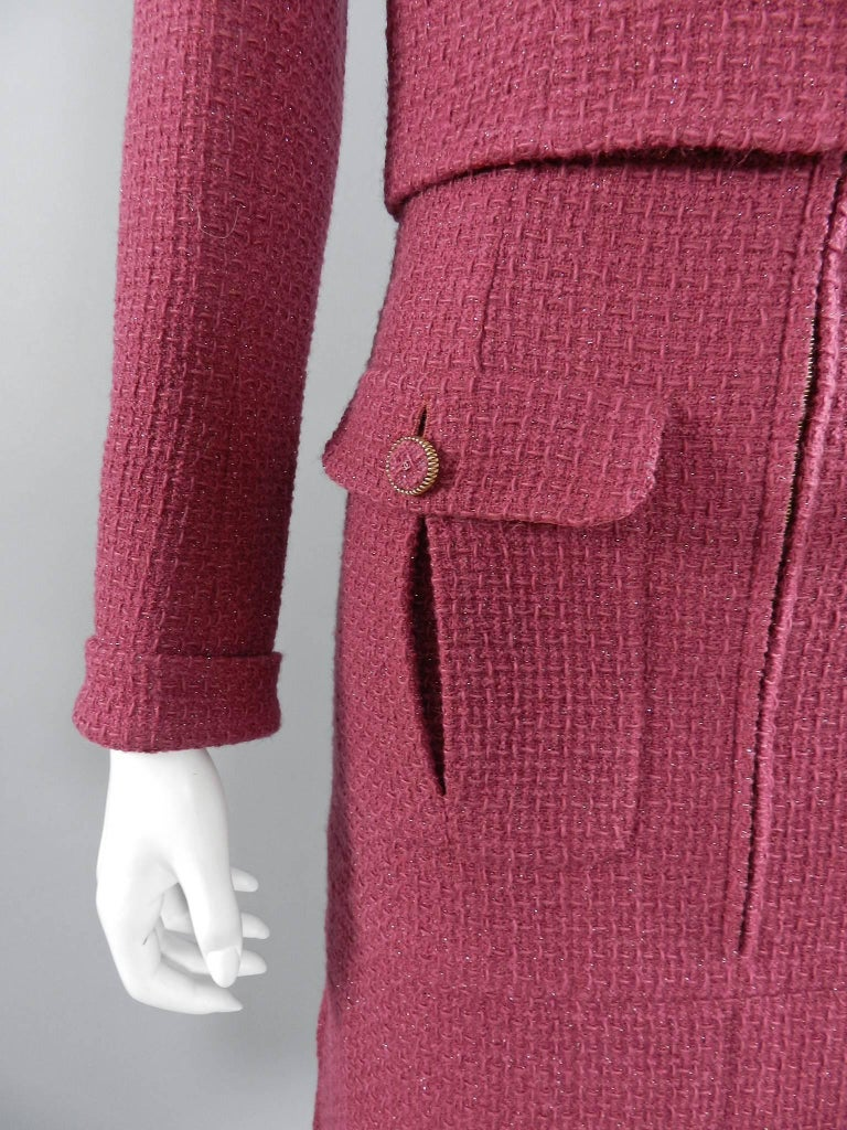 Chanel 16K Runway Fuchsia Wool Skirt Suit For Sale 3