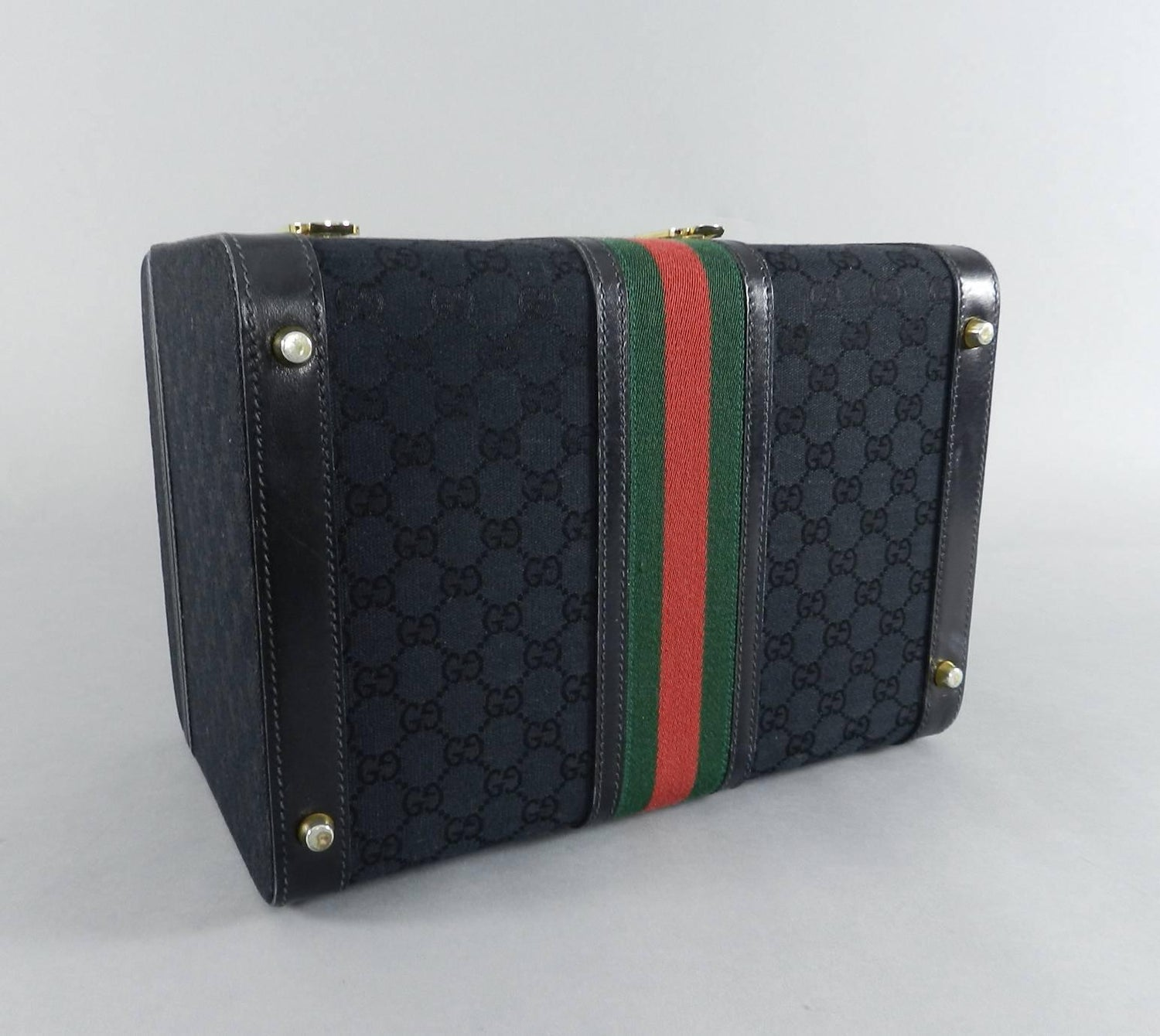 22350f5f08e Gucci Vintage 1970 s Black Monogram Train Case Bag - Travel Luggage Trunk  at 1stdibs