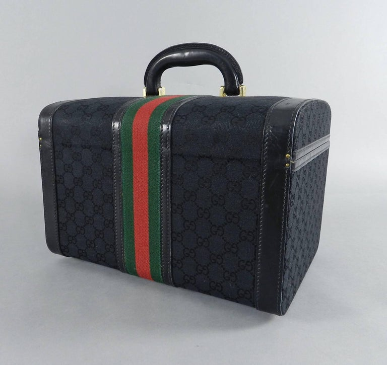 0dd5e84a609 Gucci Vintage 1970 s Black Monogram Train Case Bag - Travel Luggage Trunk  For Sale 1