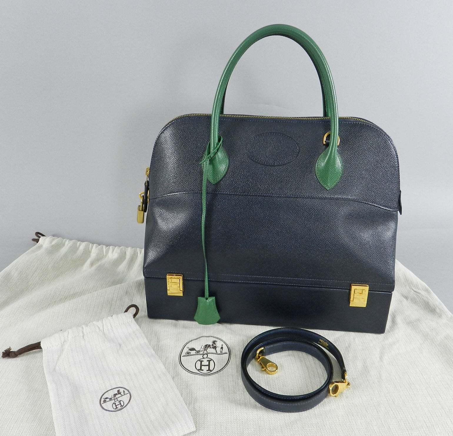 d8f560b9f8 ... bidding starts at 11020 via ebay b366b 9174c  amazon hermes vintage  bolide macpherson 34 trunk bag bicolor green and navy at 1stdibs 83592 5823a
