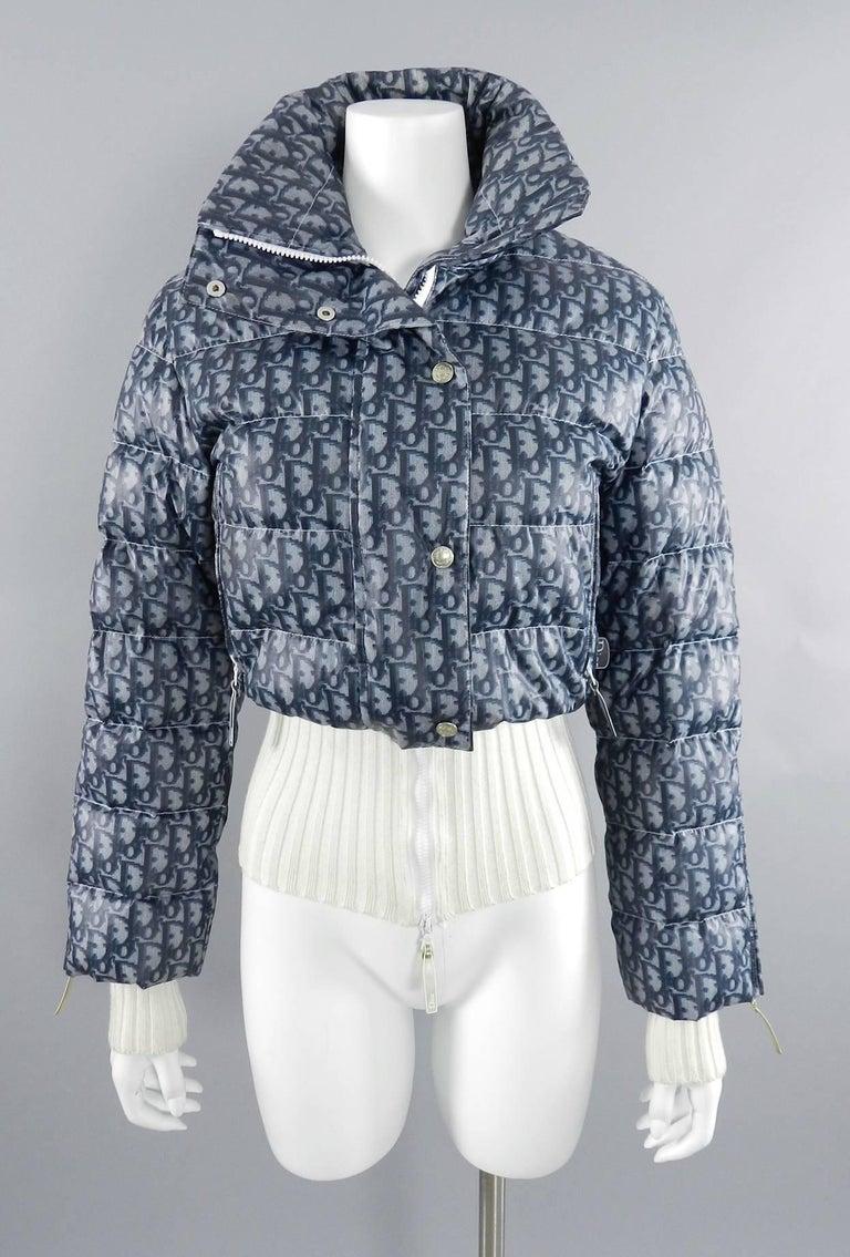 Christian Dior Fall 2004 Blue Monogam Puffer Ski Jacket At