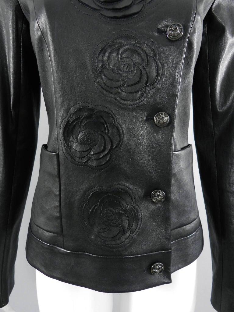 Women's Chanel pre-fall 2010 Shanghai Paris Runway Black Camelia Leather Jacket For Sale
