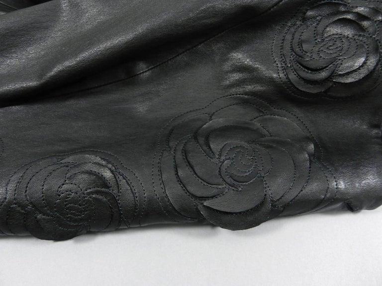 Chanel pre-fall 2010 Shanghai Paris Runway Black Camelia Leather Jacket For Sale 1