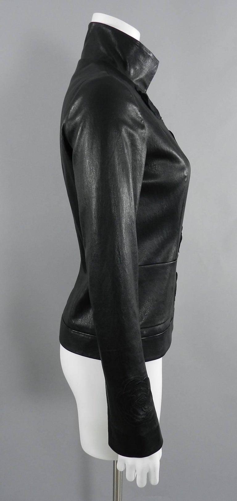 Chanel pre-fall 2010 Shanghai Paris Runway Black Camelia Leather Jacket For Sale 4
