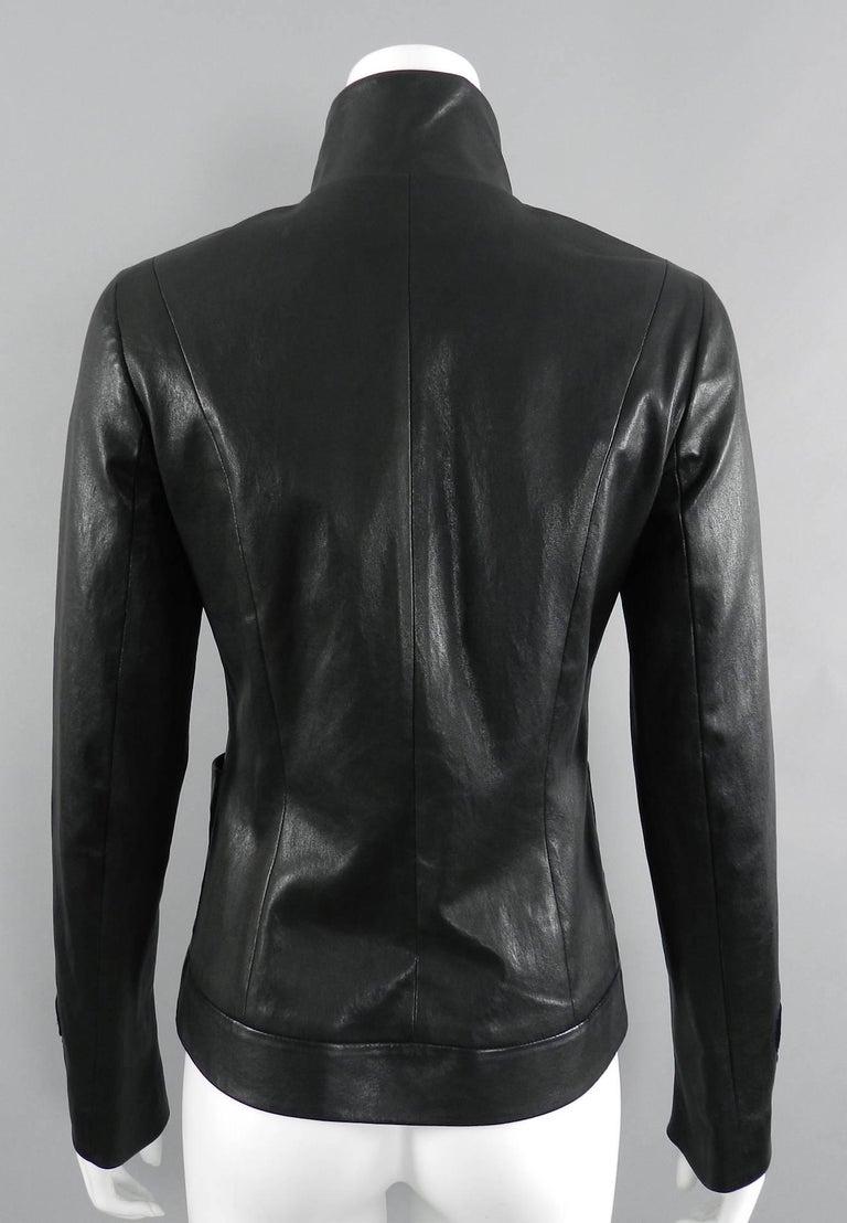 Chanel pre-fall 2010 Shanghai Paris Runway Black Camelia Leather Jacket For Sale 5