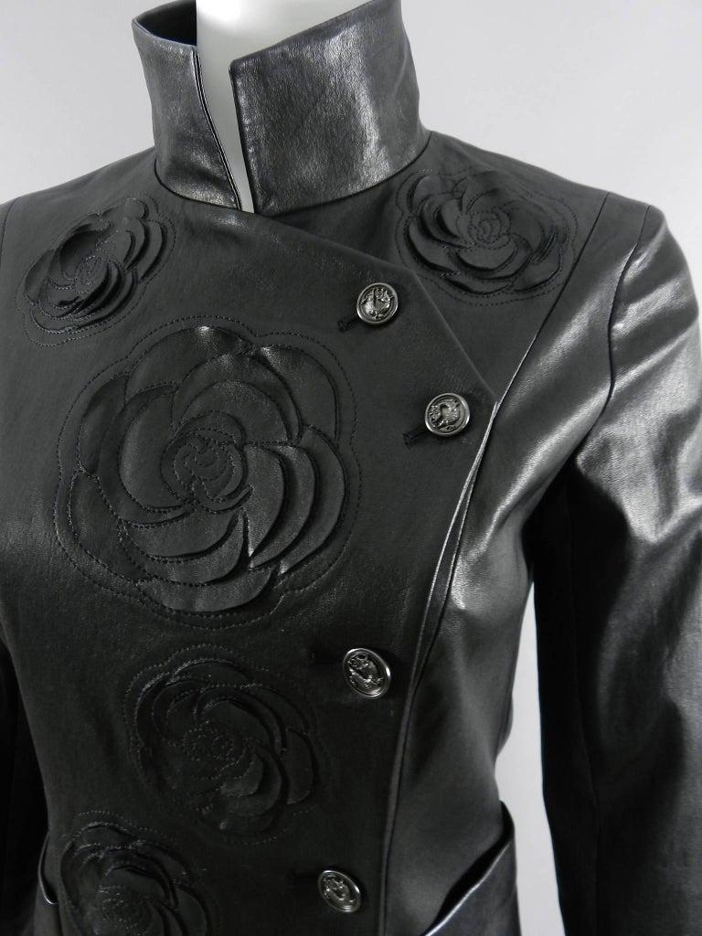 Chanel pre-fall 2010 Shanghai Paris Runway Black Camelia Leather Jacket For Sale 6
