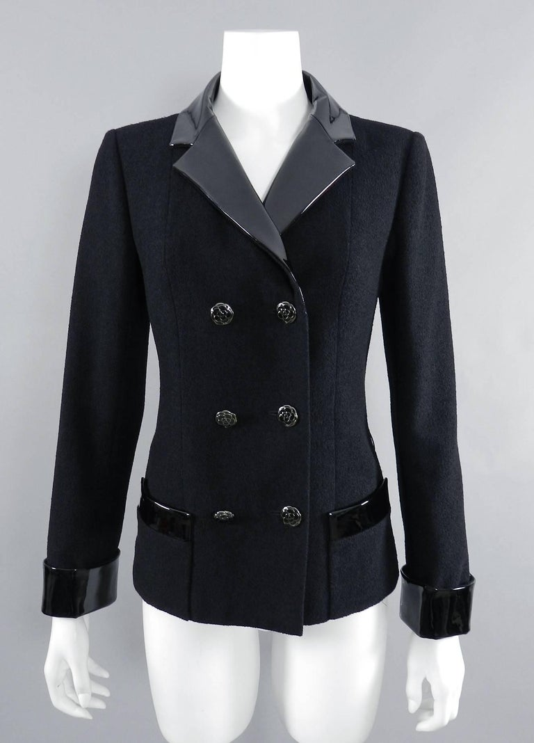 Chanel 15K Black Jacket with Patent Collar and Camelia Buttons In Excellent Condition For Sale In Toronto, ON