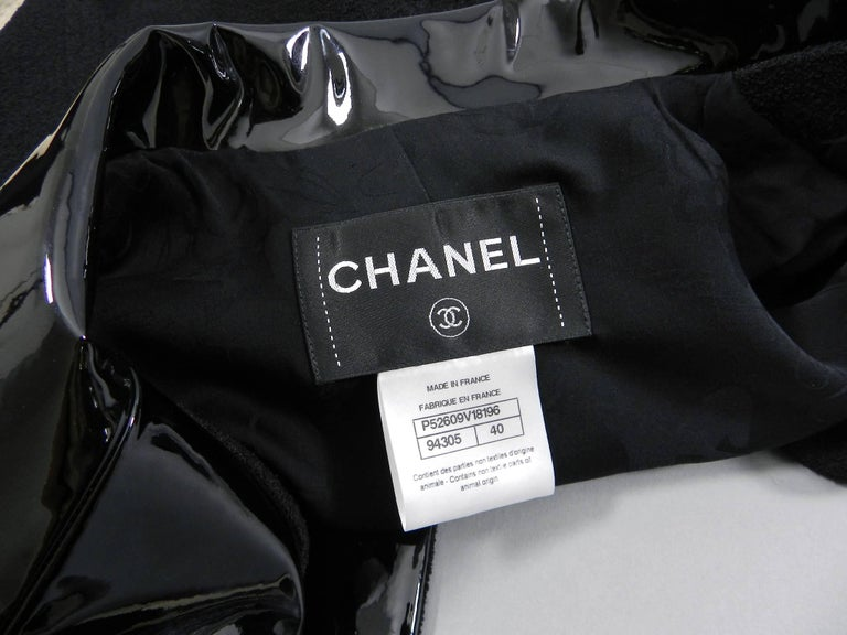 Chanel 15K Black Jacket with Patent Collar and Camelia Buttons For Sale 1