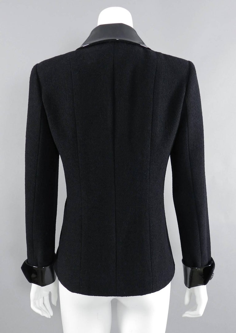 Chanel 15K Black Jacket with Patent Collar and Camelia Buttons For Sale 3