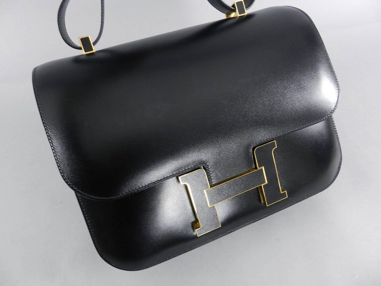 61f2487ee20a Hermes Limited Edition Constance Cartable Black Box Leather with Gold  Hardware For Sale 3