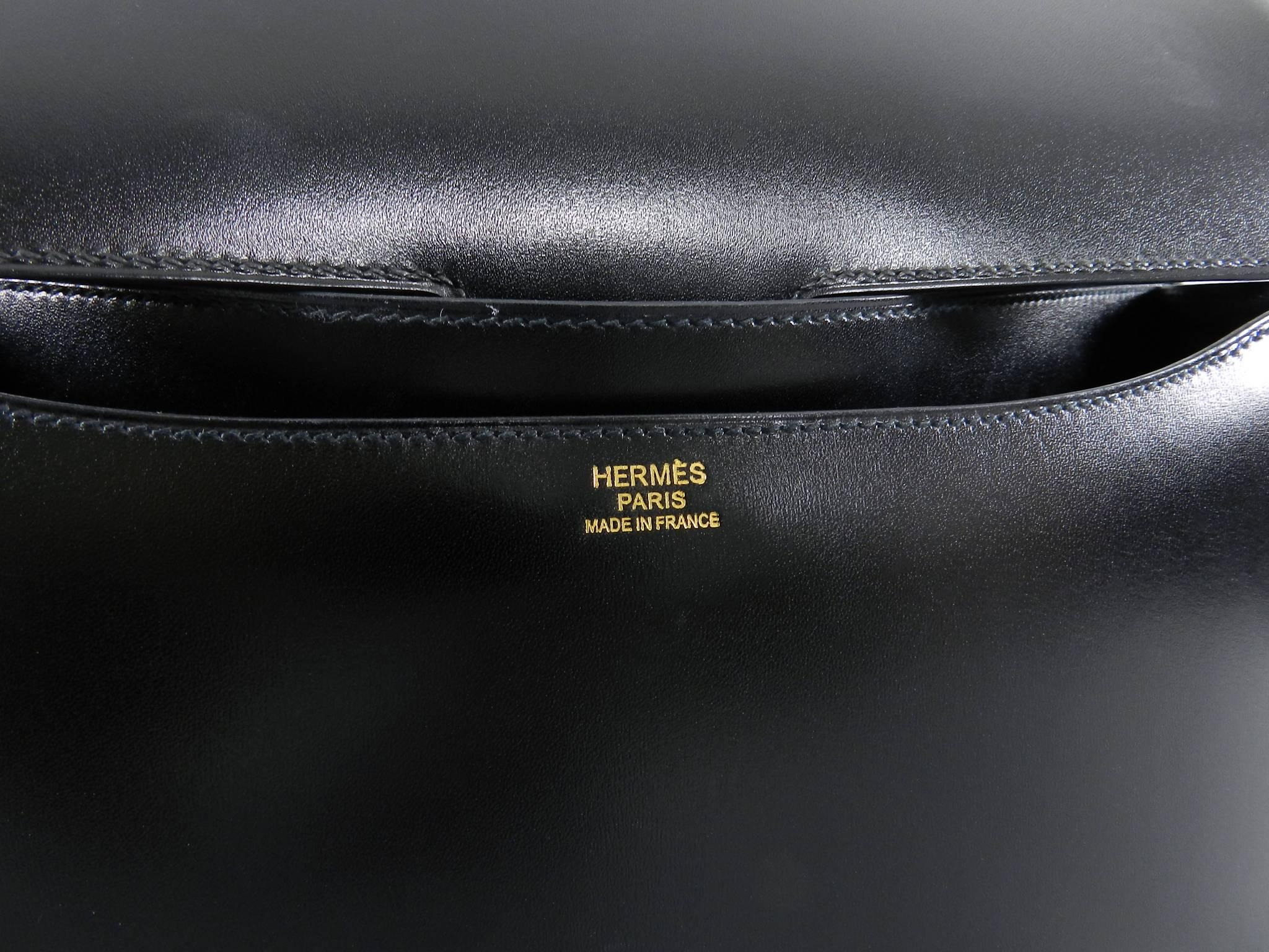 df40846573f1 Hermes Limited Edition Constance Cartable Black Box Leather with Gold  Hardware at 1stdibs