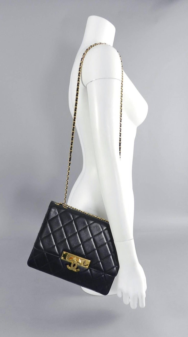 c4c9570dae4352 Chanel Cruise 2014 Black Lambskin Quilted Golden Class Medium Flap Bag In  Excellent Condition For Sale