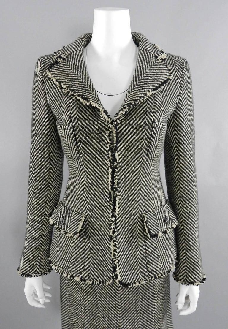 Black Chanel 06A Wool Herringbone Skirt Suit For Sale