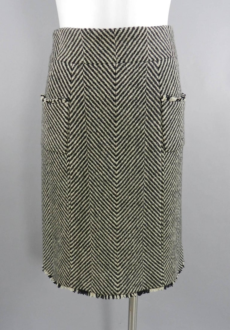 Chanel 06A Wool Herringbone Skirt Suit In Excellent Condition For Sale In Toronto, CA