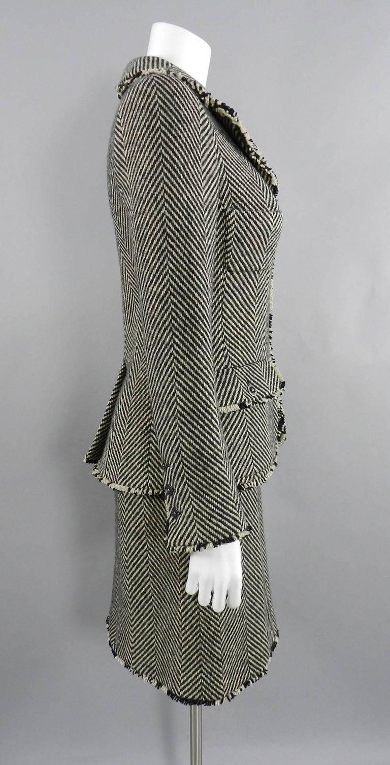 Chanel 06A Wool Herringbone Skirt Suit For Sale 1