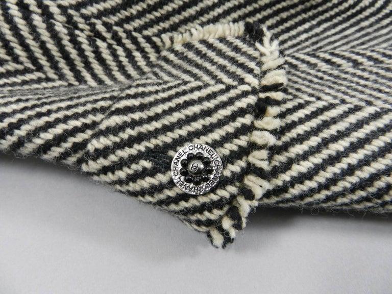 Chanel 06A Wool Herringbone Skirt Suit For Sale 3