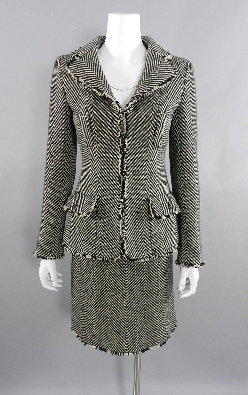 Chanel 06A Wool Herringbone Skirt Suit For Sale 5