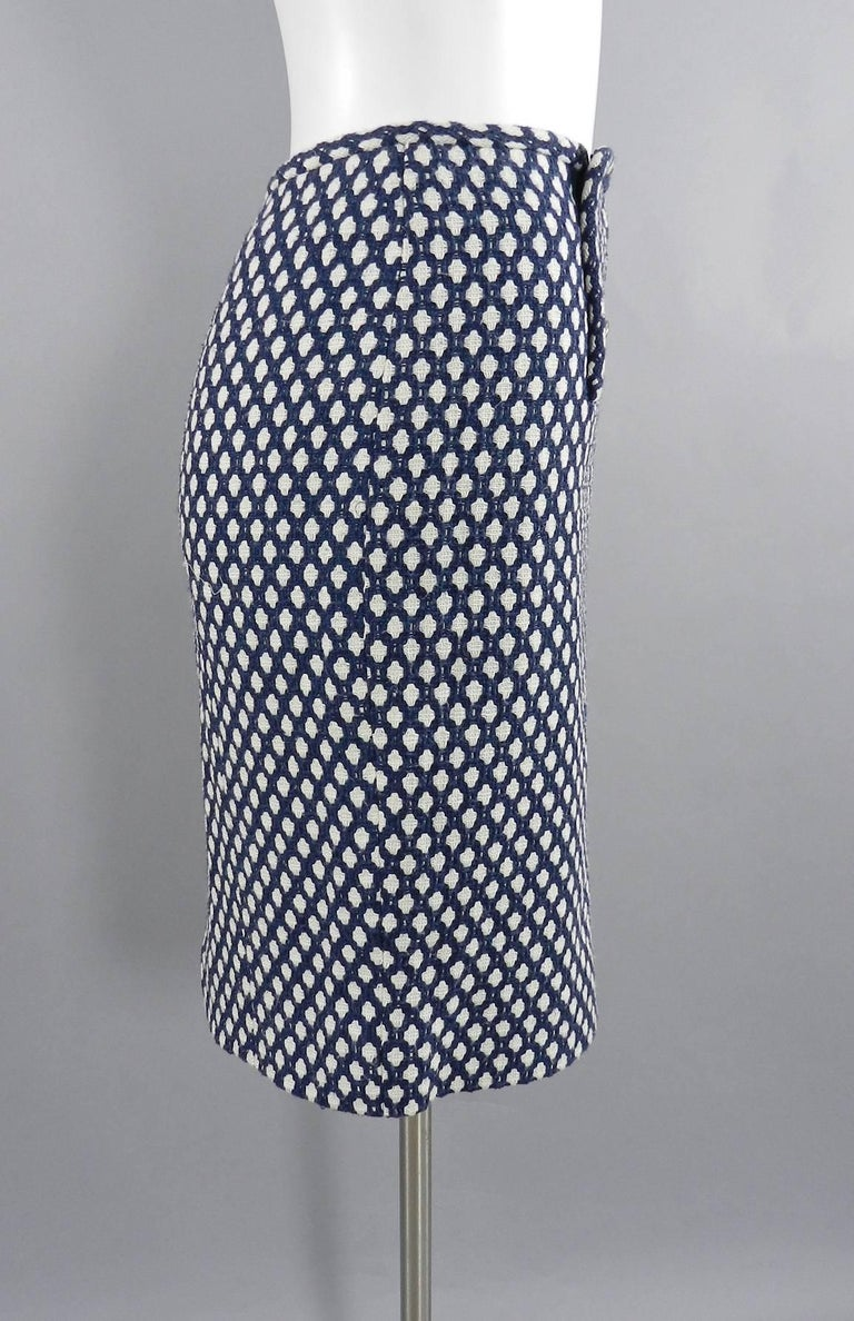 Chanel 08P Navy and White Pattern Mini Pencil Skirt In Excellent Condition For Sale In Toronto, CA