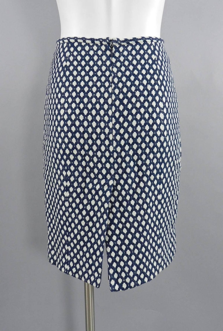 Women's Chanel 08P Navy and White Pattern Mini Pencil Skirt For Sale