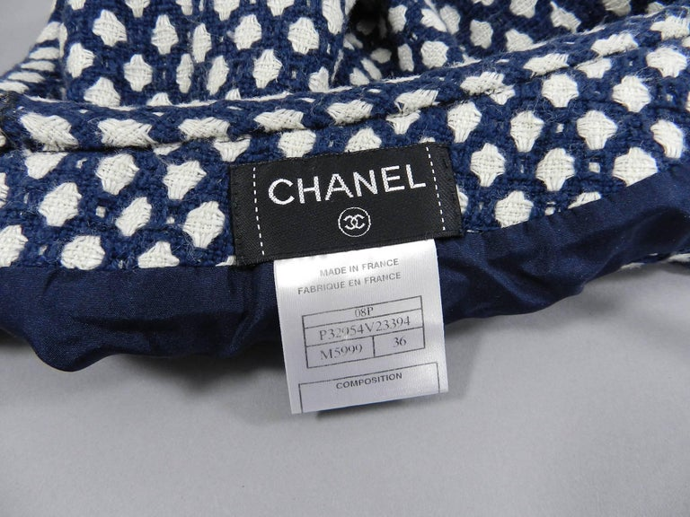 Chanel 08P Navy and White Pattern Mini Pencil Skirt For Sale 1