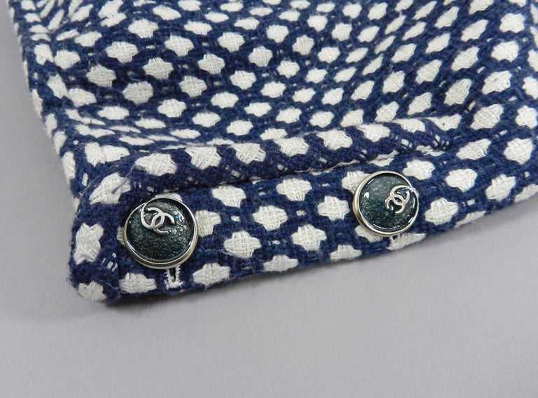 Chanel 08P Navy and White Pattern Mini Pencil Skirt For Sale 2