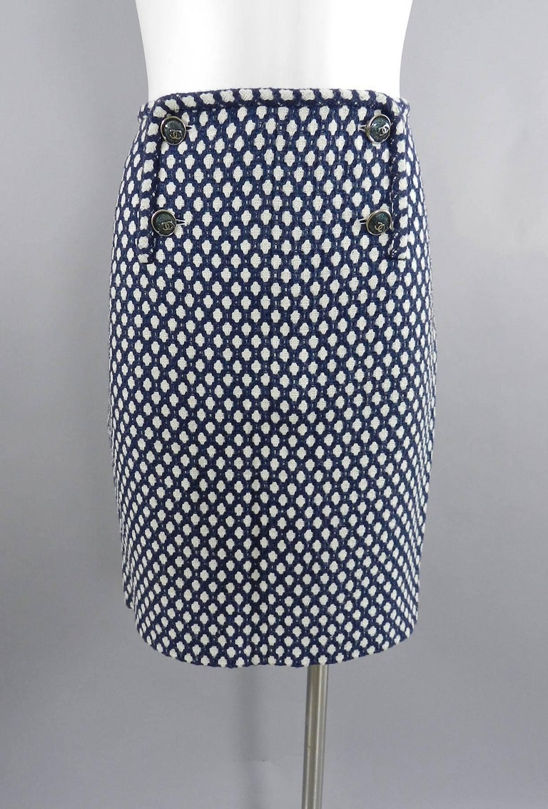 Chanel 08P Navy and White Pattern Mini Pencil Skirt For Sale 4
