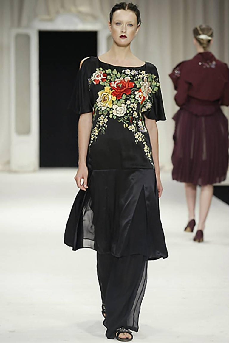 Antonio Marras Runway Embroidered Silk Chinoiserie Dress