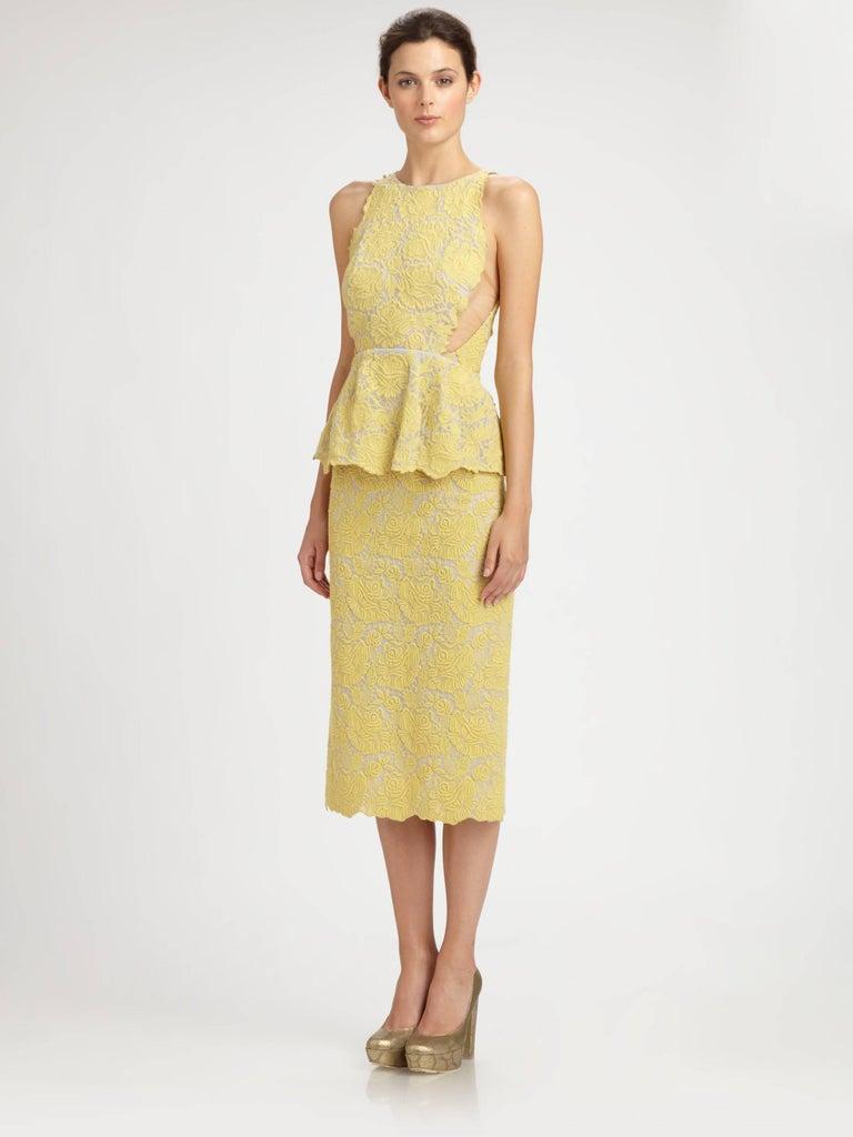 1b38e73f69a Stella McCartney Yellow Lace Peplum Cocktail Dress. Sleeveless fitted  bodice