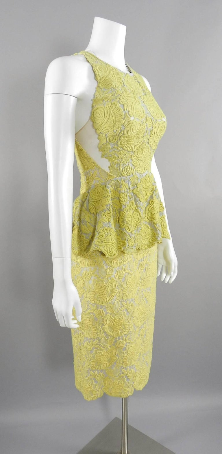 0cf7975f5ed Stella McCartney Yellow Lace Peplum Cocktail Dress In Excellent Condition  For Sale In Toronto