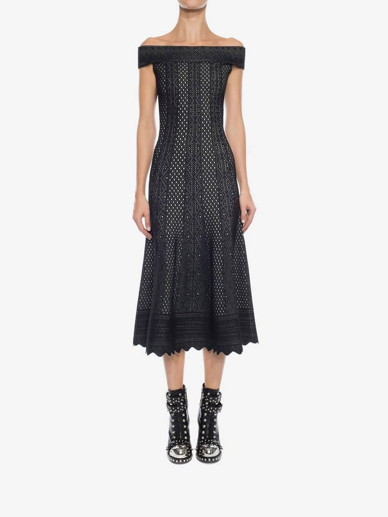 Alexander McQueen Black Lace Jacquard Knit Off Shoulder Dress In Excellent Condition For Sale In Toronto, ON