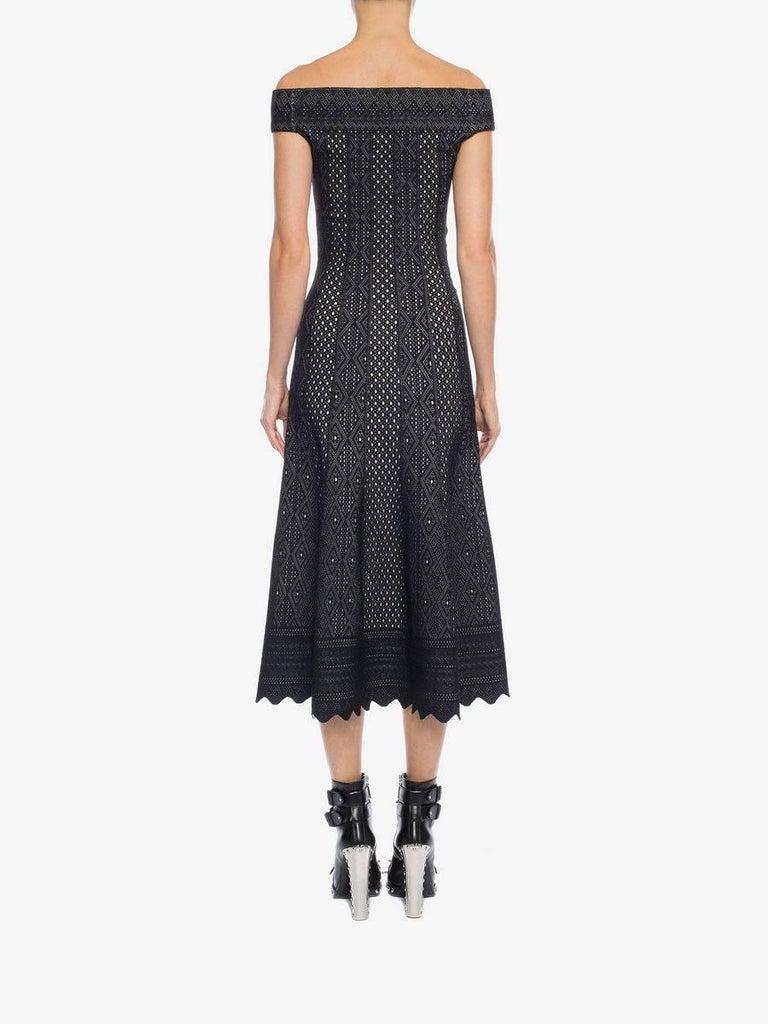 Women's Alexander McQueen Black Lace Jacquard Knit Off Shoulder Dress For Sale