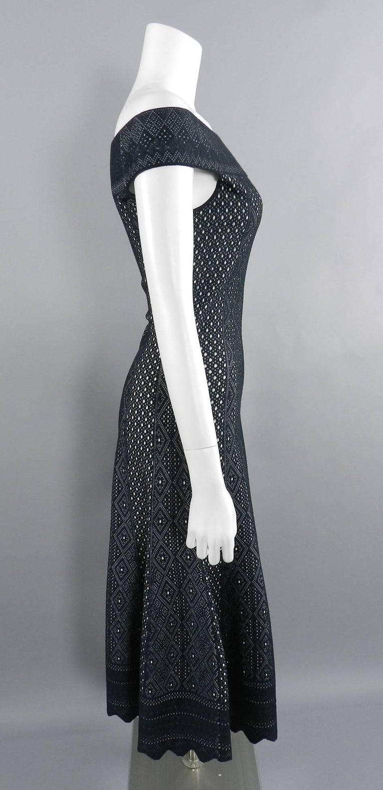 Alexander McQueen Black Lace Jacquard Knit Off Shoulder Dress For Sale 2