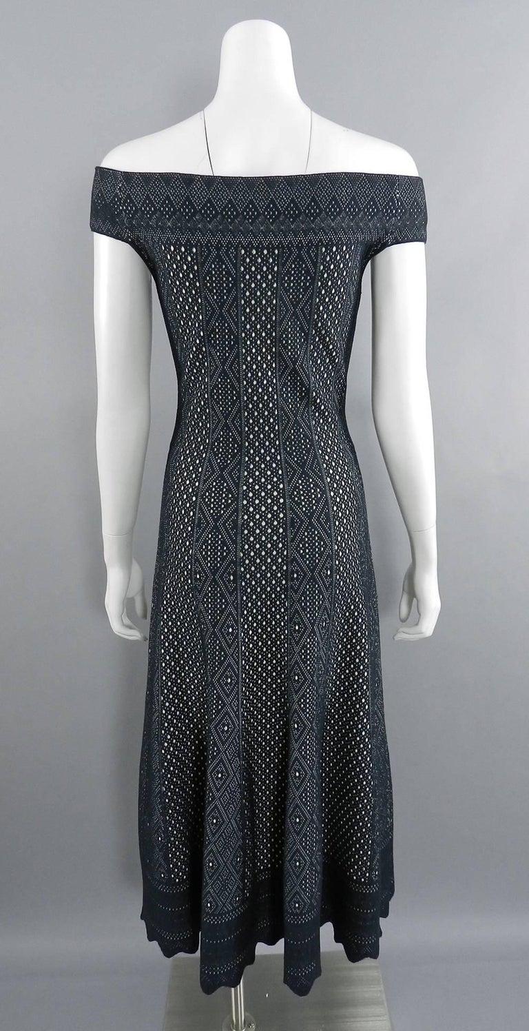 Alexander McQueen Black Lace Jacquard Knit Off Shoulder Dress For Sale 3